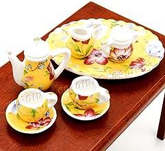 112 8PCS Yellow Lily Flower Tea Cup Set Porcelain Miniature Dollhouse