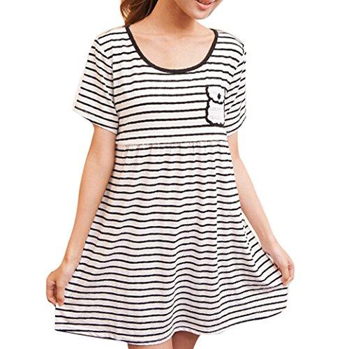 Maternity Nursing Women Striped Short Sleeve Round Collar Dress Size M - White