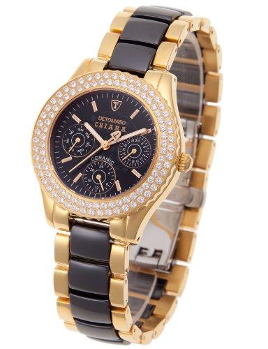 Detomaso Damen-Armbanduhr XS Chiara Analog Quarz Keramik schwarz/gold DT3002-B
