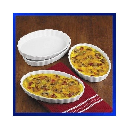 Bia Cordon Bleu Earthenware Baking Dish - Fluted Porcelain Oval Shallow White Bakeware - 16-Ounce Microwave Stoneware Set Of 4 Bowls - Great For Casseroles, Quiche, Vegetables, Cobblers - Use For Baking, Browning And Light Crisping.