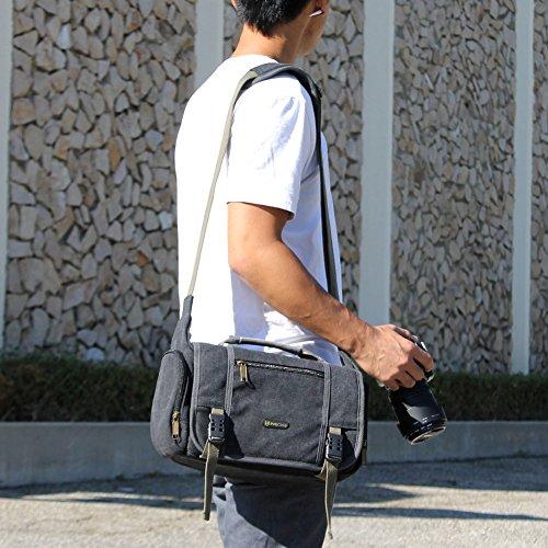 Evecase Large Vintage Messenger Digital Slr Camera Case/Bag For Nikon D810, D800/D800E, D750, D700, D610, D600, D4S, D4, D7100, D5300, D5200, D5100, D3300, D3200, D3100 (Gray)