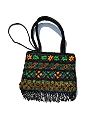 Raun Harman Embroidered Black With Orange Flower Tote Bag