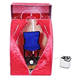 AW Red Portable Sauna w/ Head Cover Personal Steam Sauna SPA Slim Detox Weight Loss Home Indoor