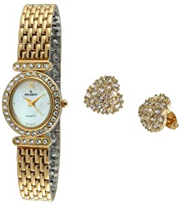 Amazon.com: Peugeot Women's 555G Gold-Tone Watch and Stud Earrings Set