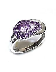 Admyro-Cut Amethyst With Natural Amethyst Cut 925 Silver Girls Ring- AZR025