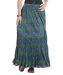 Soundarya Women Cotton Jaipuri Bandhej Printed Long Skirt