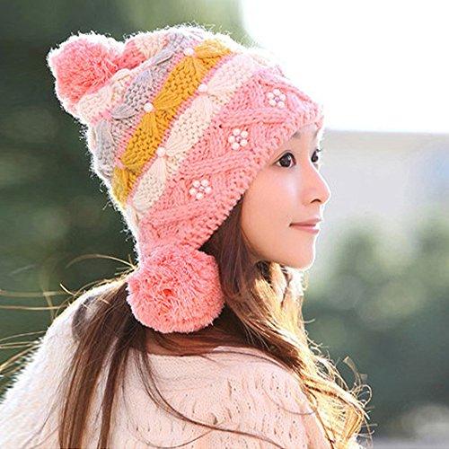 xdobo Damen Ski Hüte Fashion Cute Girls Damen Winter Warm Baggy Strick Wolle Flower Cap Slouch Beanie Snow Mütze mit Ohrenklappen