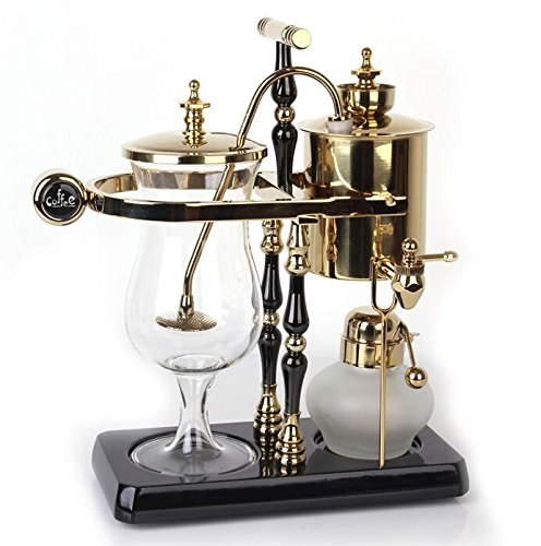 DGCoffee Belgian Belgium Luxury Royal Family Balance Syphon Coffee Maker Classic Double Column Top Grade, Classic and Elegant Design (Golden) (Royal Siphon Coffee Maker compare prices)