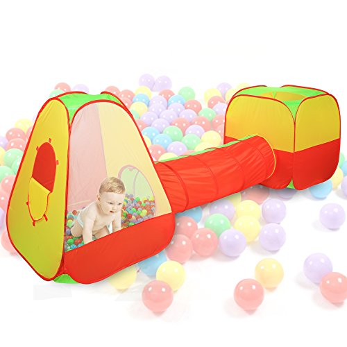 Arshiner Kids Playhouse Adventure Play Tent Indoor Outdoor Tunnel Pool 3 Pieces Set