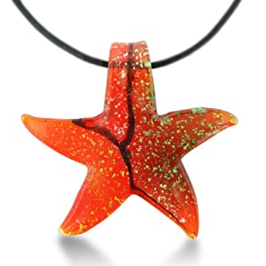 Red Murano Glass Starfish Pendant on 19 Inch Black Leather Cord Necklace Necklace