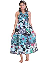 Exotic India Angel-Blue Floral Printed Barbie Dress - Blue