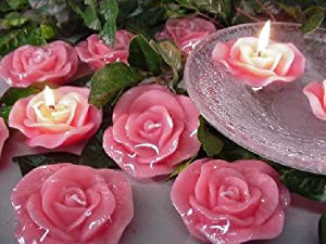Scented Floating ROSE Candles Wedding Decoration Centerpiece 6 pcs PINK from Nicole Crafts
