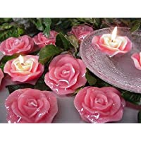 GATTS Rose Flower Art Candle Pink Decorative Flameless Paraffin Candles Christmas Wedding Decorations Return Gifts-Pink