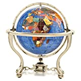 Alexander Kalifano Gemstone Globe with Gold Colored Commander 3-Leg Table Stand, Marine Blue Opalite Ocean, 9-Inch