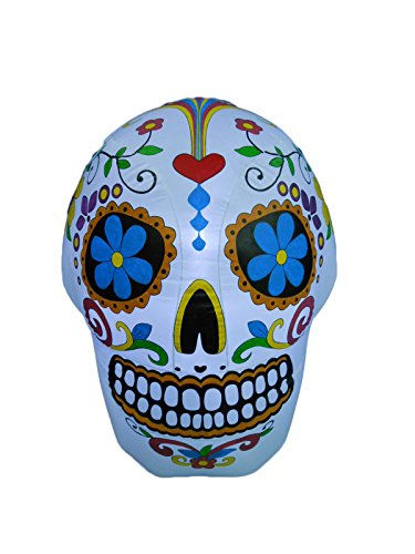 BZB Goods 4 Foot Halloween Inflatable Colorful Sugar Skull Decoration