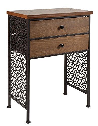 Kommode-Schrank-Regal-Antik-Vintage-Industrie-Design-Holz-mit-Metall-Nachttisch-Beistelltisch-Ablage-Telefontisch-Braun