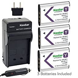 Kastar NP-BY1 Battery (3-Pack) and Charger Kit for Sony NP-BY1 work with Sony Action Cam Mini HDR-AZ1 Camera