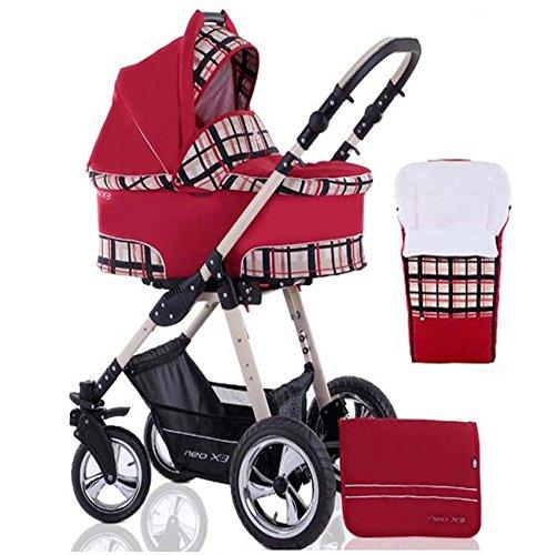 2 in 1 Kinderwagen Neo X3 - Kinderwagen + Sportwagen + Fußsack + GRATIS ZUBEHÖR in Farbe Rot-Kariert