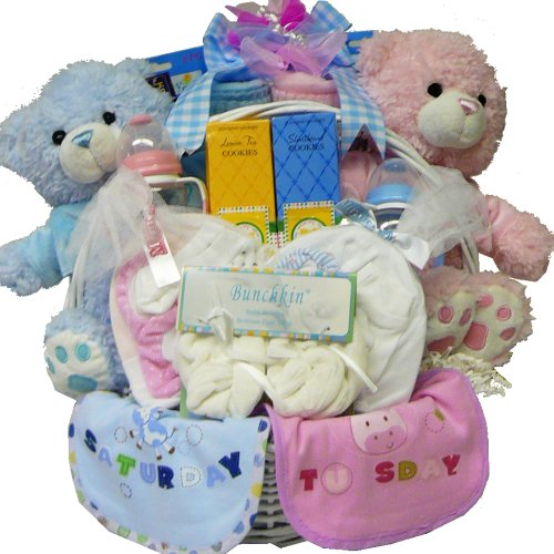 Art of Appreciation Gift Baskets Double The Fun New Baby Gift Basket, Twin Boys