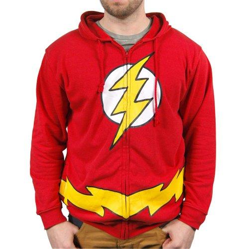 Mens DC Comics The Flash Costume Hoodie Red Medium