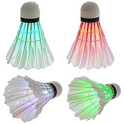 BLKWHT LED Badminton Shuttlecock Dark Night Glow Birdies Lighting For Outdoor & Indoor Sports Activities, 4-piece
