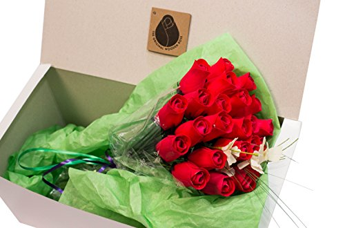 The Original Wooden Rose All Red Roses Floral Flower Bouquets in a Gift Box (2 Dozen) ...