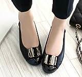 【 UN ANANAS 】 ペタンコ 靴 シンプル リボン 大人 可愛い パンプス レザー 秋 冬 春 ブラック チョコブラウン