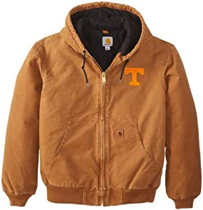 NCAA Tennessee Volunteers Mens Quilted Flannel Lined Sandstone Active Jacket by Carhartt