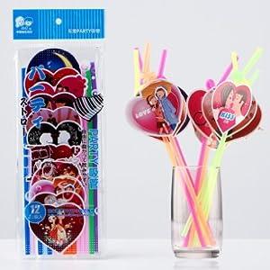EOZY 曲がるストロー 透明 カラフル キュートな恋人カップルデザインストロー イベント 飲み会 新年会 コスプレに 1パック12本入り
