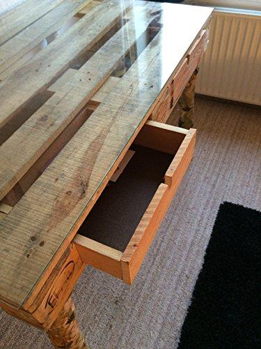 schreibtisch aus einer palette birkenf e glasplatte handgefertigt palettentisch. Black Bedroom Furniture Sets. Home Design Ideas