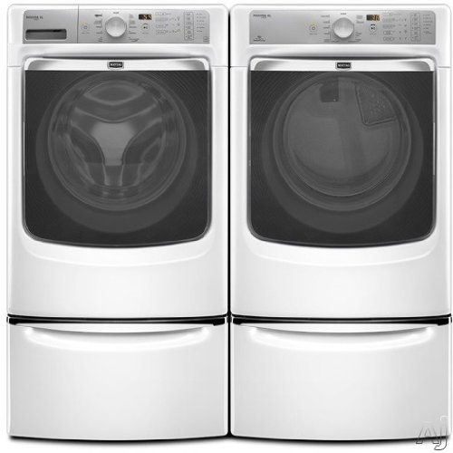 Maytag Maxima XLTM Front Load Steam Washer and Steam Dryer SET (Electric Dryer) with Pedestals