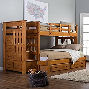 Stairway II Twin over Full Bunk Bed with Stairs Multicolor - WCM307