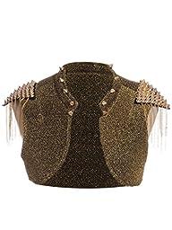 Anna-Kaci S/M Fit Gold Mad Max Inspired Shiny Spike Stud Embellished Crop Vest