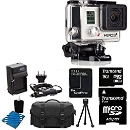 GoPro HERO3+ Silver Edition Camera HD Camcorder With Replacement Lithium Ion Batteries + Charger with Car Charger + Deluxe Carrying Case + 16GB SDHC MicroSD Memory Card Complete Deluxe Accessory Bundle