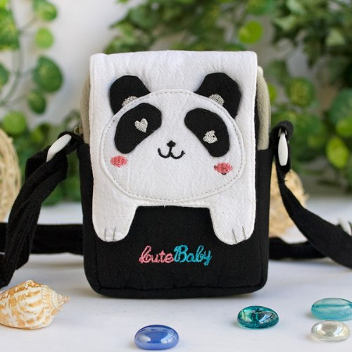 [White Panda] Embroidered Applique Swingpack Bag Purse / Wallet Bag / Camera Bag (3.9*5.1*1.2)