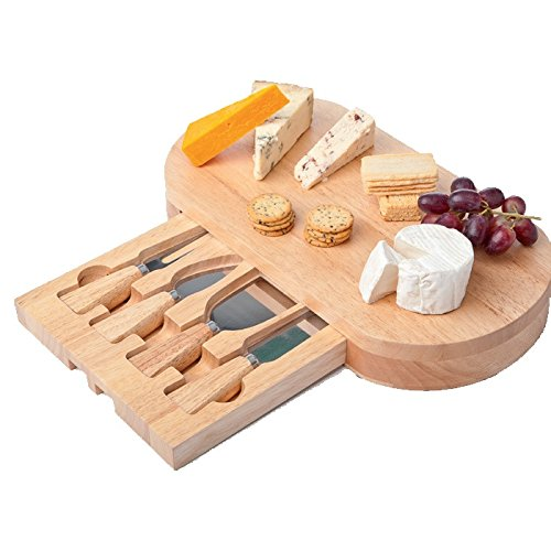 5-piece Set: Wood Cheese Board with Slide-out Drawer & Accessories