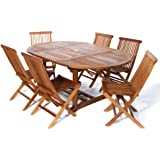 All Things Cedar 7 Piece Teak Oval Extension Table Folding Chair Set, Expandable