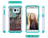 Galaxy S7 Case, S7 Case, ArtMine Cute Elephants Dual Layers (Studded Rhinestone Hard Shell & Soft Silicone TPU) High Impact Shockproof Durable Cover Case for Samsung Galaxy S7 - Teal