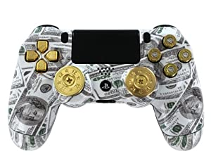 """Money Talks w/ShotGun Thumbsticks and Real Gold 9 mm Bullet Buttons"" PS4 Custom Modded Controller Exclusive Design - COD Advanced Warfare, Destiny, GHOSTS Zombie Auto Aim, Drop Shot, Fast Reload &MORE"