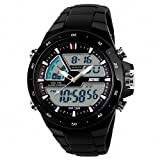LED Digital Display Waterproof Boys Mens Sports Wrist Watches with Silicone Strap (Black)