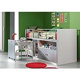 VIPaCK Bonny M.ausziehbarem Desk Bed White / Grey Long side ladder, width 207cm