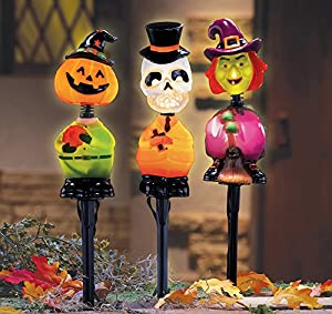 Lighted Halloween Bobbleheads Garden Stakes Set Of 3 by Collections Etc