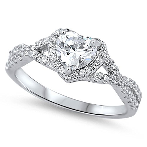Heart Clear CZ Halo Promise Ring .925 Sterling Silver Infinity Band Size 7 (RNG14589-7)