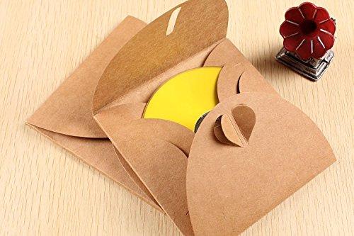 Rainbow Love CD DVD Kraft Paper Sleeves Wedding Party CD DVD Paper Bag Cover CD Pack Packaging Envelopes Package,Pack of 50