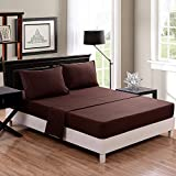 Honeymoon super soft/ Elegant/ Wrinkle Free/ Fade-resistant/ No Ironing 4PC bed sheet set, Twin/Full/Queen/King, Chocolate, deep pockets, sensitive skin, fine workmanship, Easy Care
