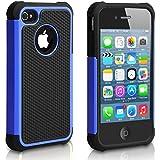 Pasonomi iPhone 4 Case-Premium Heavy Duty Hybrid Shockproof Durable Bumper Armor Cover for Apple iPhone 4S/4 (Blue)