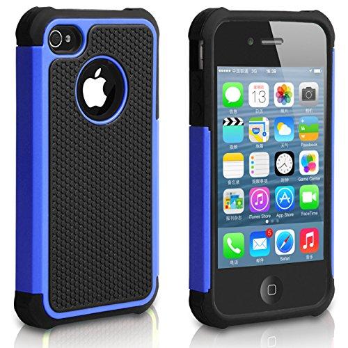 Pasonomi iPhone 4 Case-Premium Heavy Duty Hybrid Shockproof Durable Bumper Armor Cover for Apple iPhone 4S/4 (Blue) (Iphone 4 Lifeproof Case Blue compare prices)
