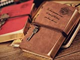Valery®vintage Key String Classic Leather Notebook Diary Journal Daily Planner Retro Note Book 300 Blank Pages keep calm and carry on printed(brown Book Size W 5.9