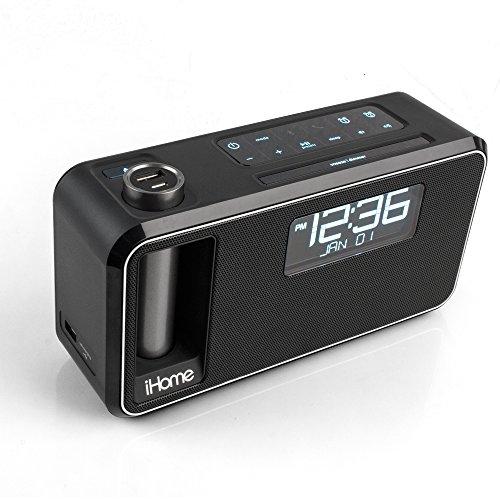 ihome ikn105 dual charging bluetooth stereo alarm clock radio speakerphone wi. Black Bedroom Furniture Sets. Home Design Ideas