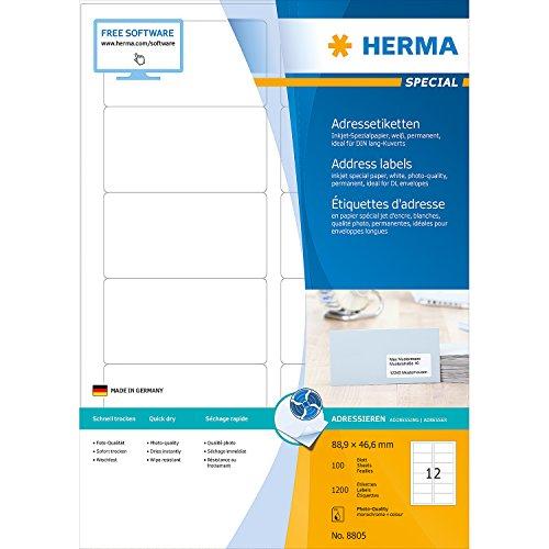 Herma 8805 Étiquettes jet d'encre 88,9 x 46,6 A4 1200 pièces Blanc